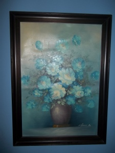 Blue flowers Oil on Canvas by Robert Cox