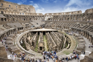 72-82 A.D., Rome, Italy --- Tourists Inside the Roman Colosseum --- Image by © Ron Chapple Stock/Corbis via Google images
